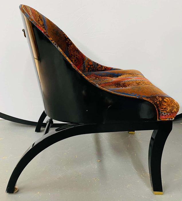 Mid-Century Modern Ebonized Shell Lounge Chairs, a Pair
