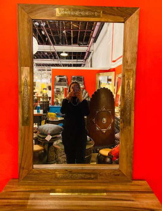 Walnut & Brass Handmade Console With Available Matching Mirror