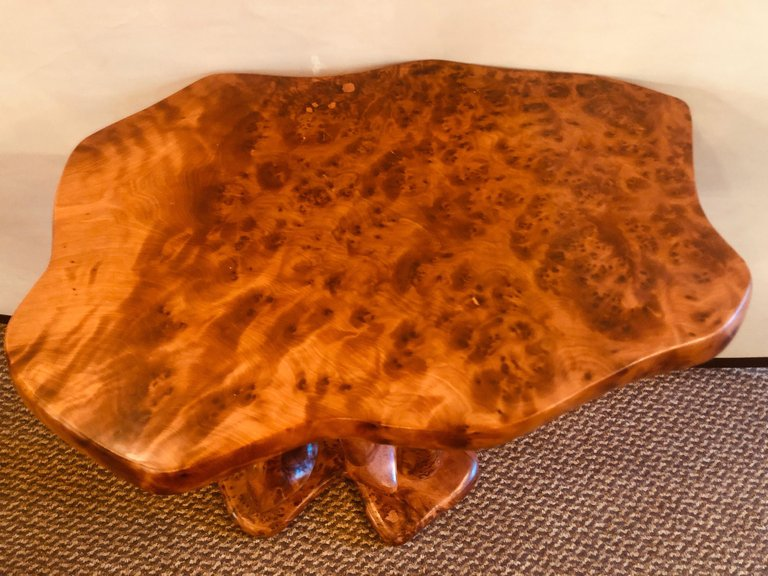 Handmade Vintage Burl Moroccan Sculpted End Table