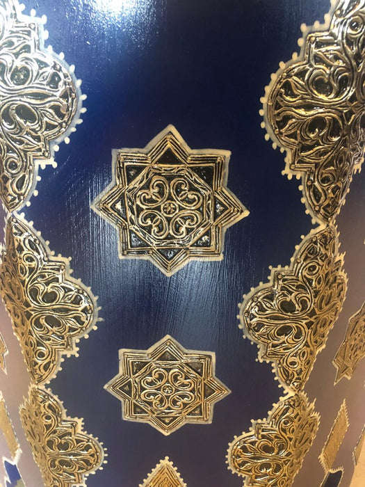 Pair of Large Moroccan Silver Metal and Brass Inlaid Side Tables in Blue Majorelle