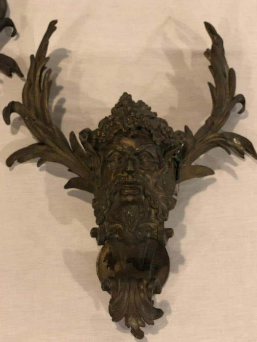 19th Century Pair of Antique Patinated Bronze Satirical Mask Wall Lights Sconces