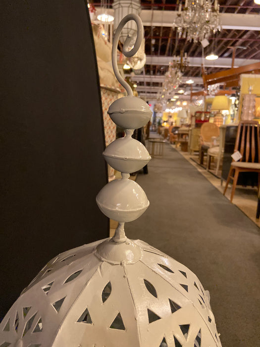 Garden Floor Lantern or Candleholder in White, a Pair