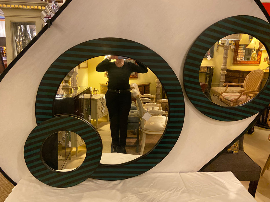 A Set of Three Resin  Mid Century Modern Green and Black Mirrors