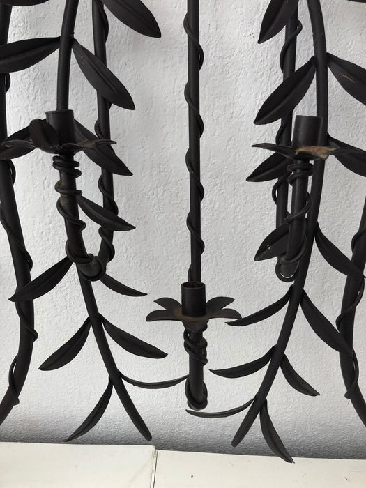 Distressed Monumental Wrought Iron Wall Sconce, Holds 7 Candles