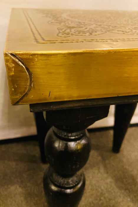 Pair of Handmade Modern Moroccan End Tables in Fine Gold Brass & Carved Legs