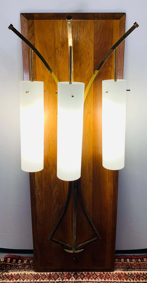 Large Mid-Century Modern Milk Glass Wall Light Fixture