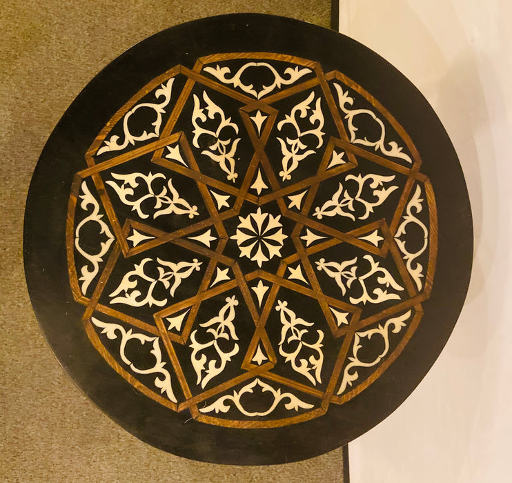 Modern Moroccan Resin Center/End Table with Brass Legs & Black & White Top