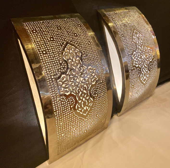 Pair of Handmade Modern Moroccan Design White Brass Wall Sconces/Lanterns