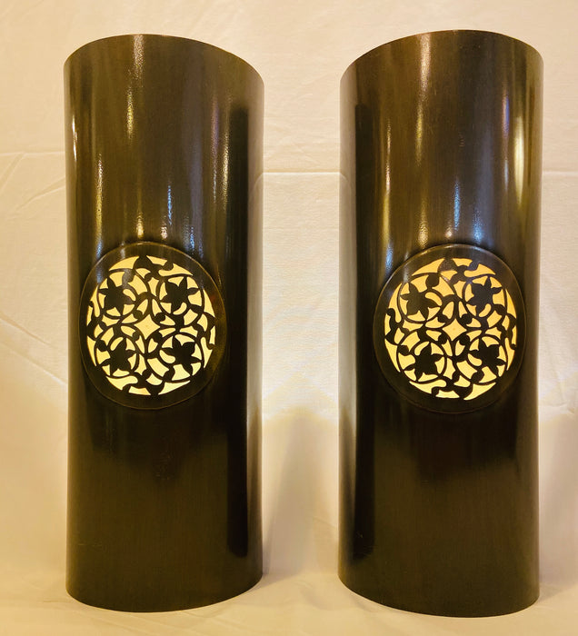 Pair of Indoor/Outdoor Pewter Copper Sconces or Lanterns. No Wiring Required