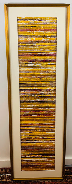 Hand Painted Abstract Art Work by Ward With a Custom Frame, Matted