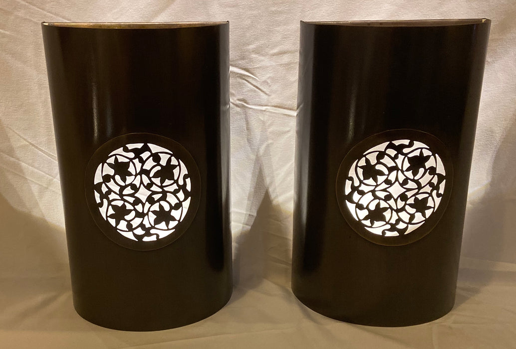 Pair of Modern Moroccan Indoor/Outdoor Pewter Copper Sconces or Lanterns