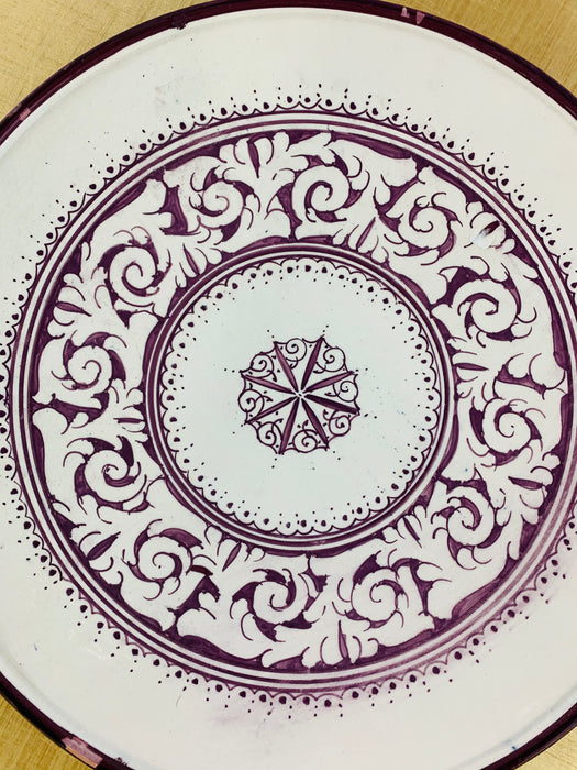 Hand Painted Large Ceramic Serving, Center Table, or Decorative Plate