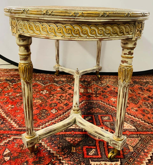 French Louis XVI Style Hand Painted Coffee Table with Wheels