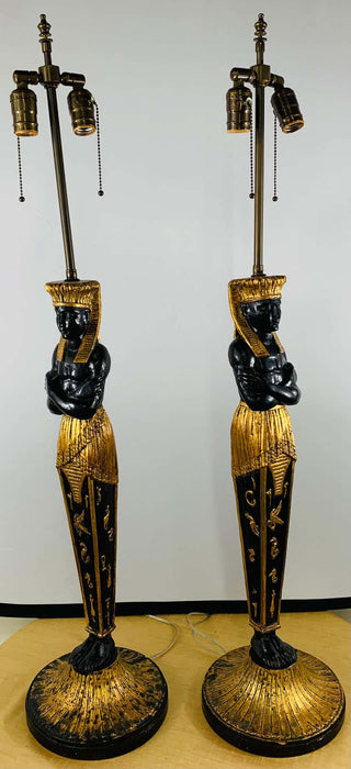 Large Ebonized and Gilded Pharaoh Table Lamp, a Pair