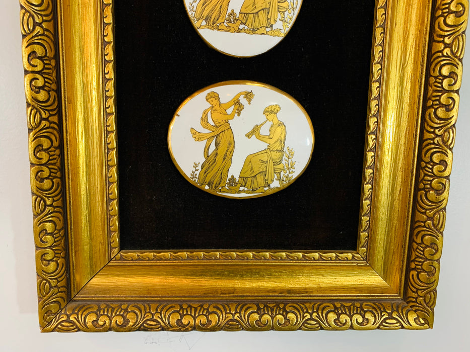 Roman Gilt Framed Wall Art, a Set of 3