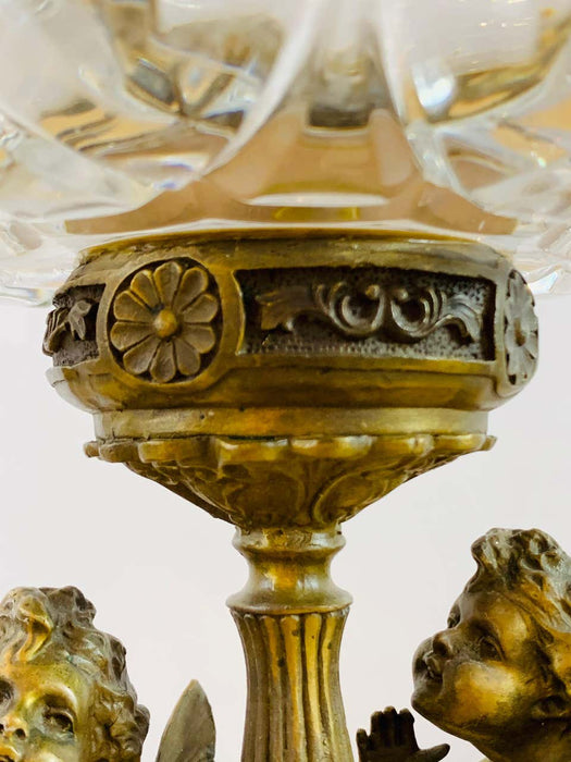 French Bronze and Cut Crystal Bowl With Cherubs and Swans Design