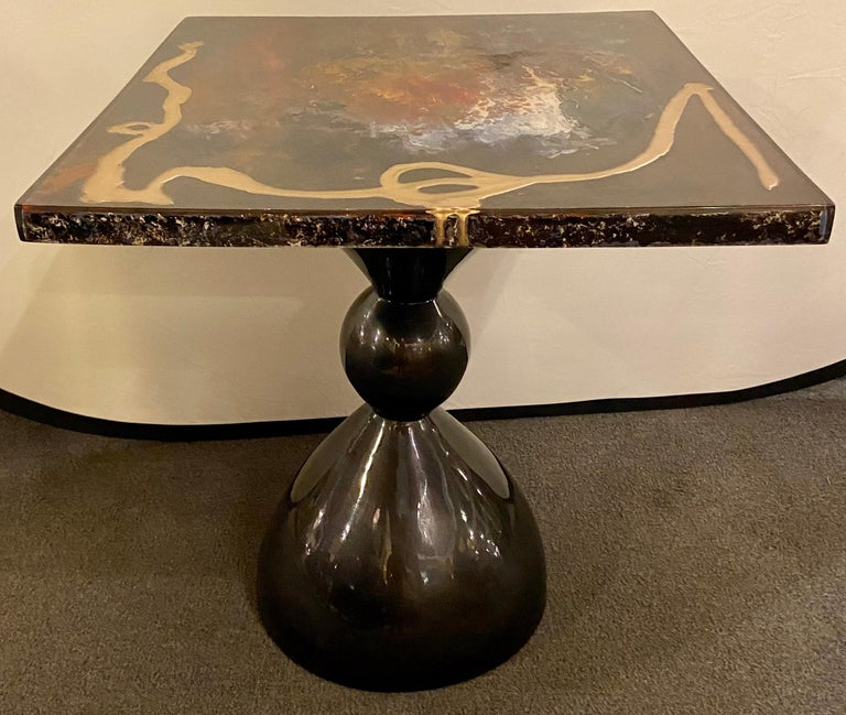 Abstract Design Center or End Table in Resin on Black Epoxy