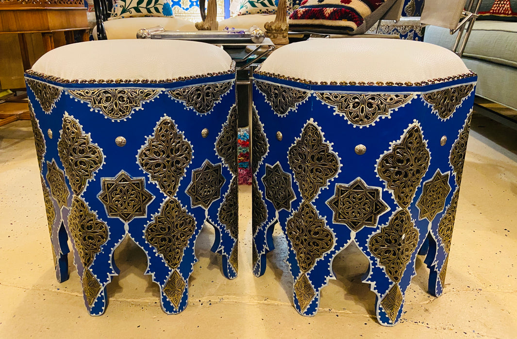 A Pair of Handmade Moroccan White Brass on Wood Ottomans, White Leather Top
