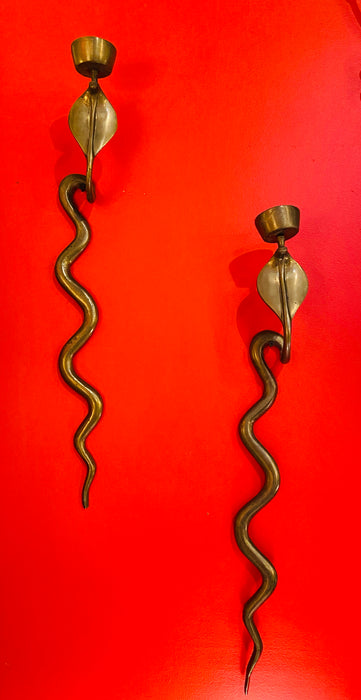 Cobra Brass Candleholders/Wall Sconces