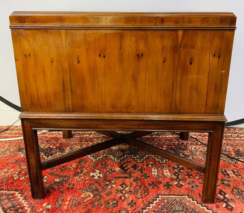 Mid-Century Modern Heritage Walnut Burl Wood Chest, End Table or Nightstand