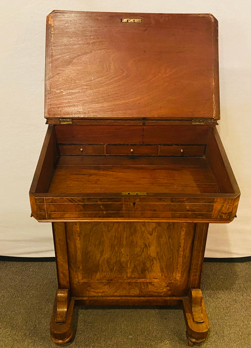 Late 19th Century Top Lid with Fitted Interior Line & Burl Inlaid Davenport Desk