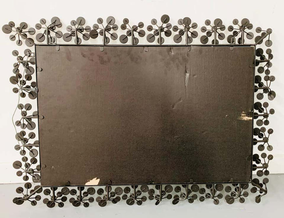 Mid-Century Modern Black and Faux Crystal Accent Beveled Wall Mirror