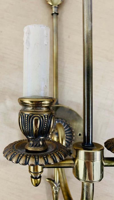 Antique Federal Style Double Arm Brass Wall Sconce, a Pair