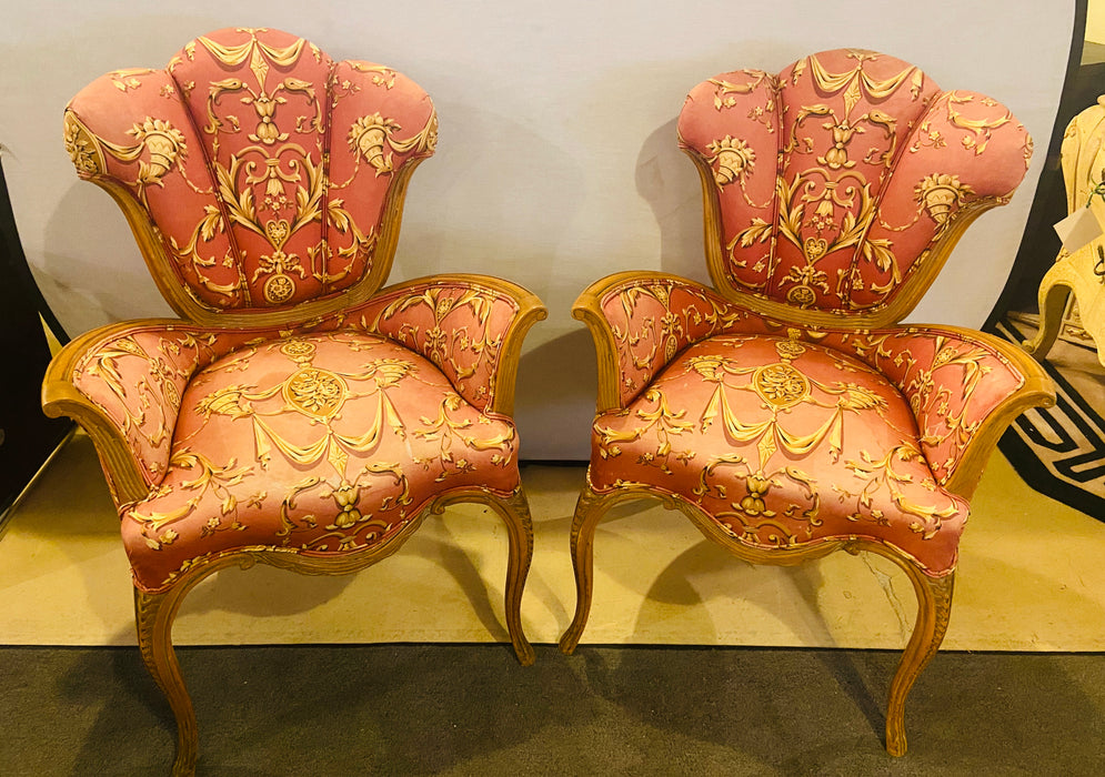 Pair of Finely Carved Grosfeld House Sweetheart Chairs. Mid-Century Modern