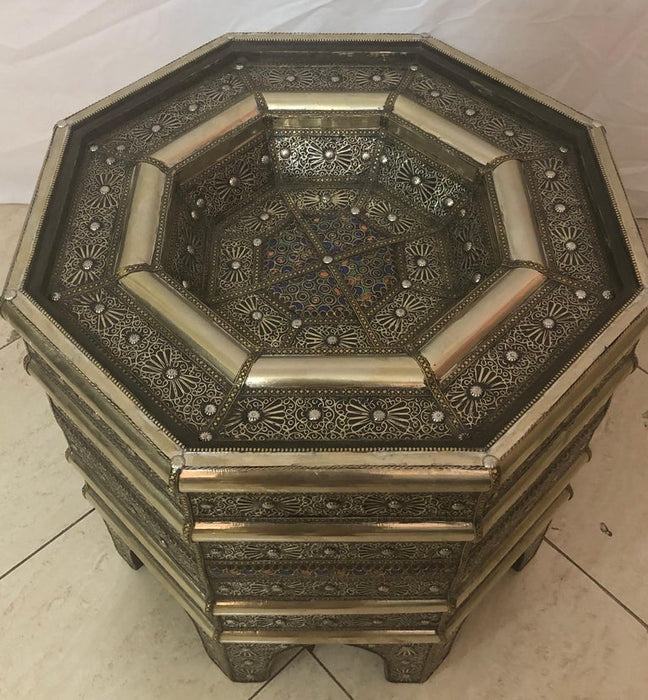 Hollywood Regency Center , Cocktail Side Table Octagonal Shape in Brass