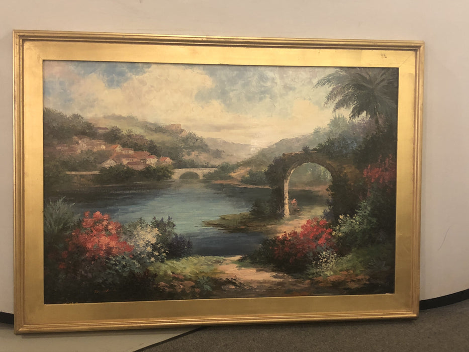 Landscape Painting in Wooden Frame
