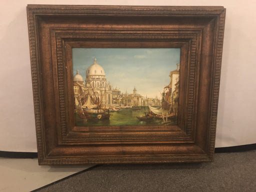 City on a River Scene in Wooden Frame