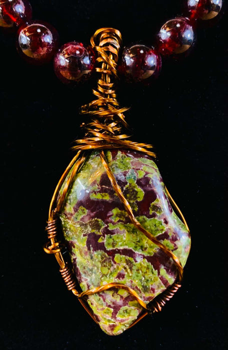 Bloodstone Pendant with Antiqued Copper Handmade Necklace