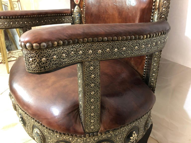 Fine Leather Brass, Natural Stones and Camel Bone Inlaid Chairs & Table