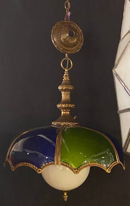 Stained Glass Dome Shaped Bronze Framed MCM Italian Light with Canopy