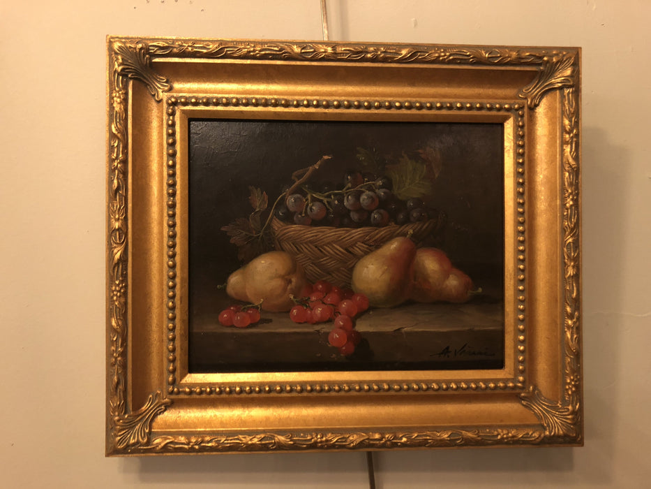 Signed Oil on Panel Still Life Fruit Painting