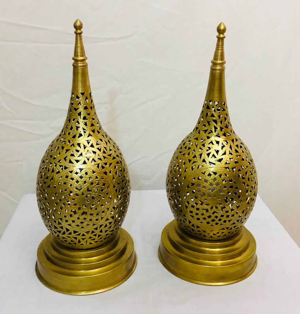 Pair of Tear Shaped Gold Brass Handmade Table Lamps
