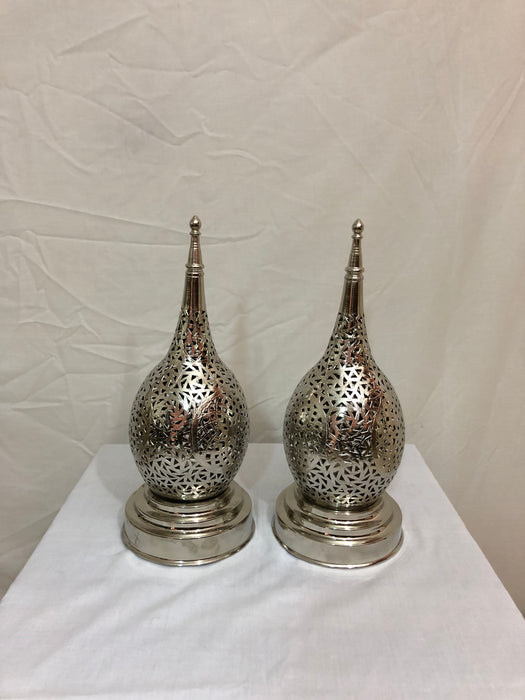 Pair of Tear Shaped White Brass Handmade Table Lamps