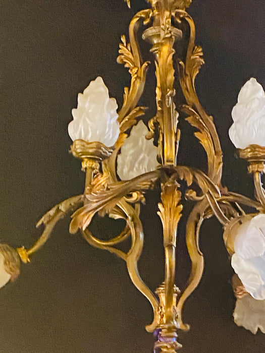 Louis XVI Style Bronze Chandelier with René Lalique Covered Shades