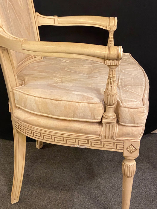 Swedish Paint Decorated Greek Key Design Desk, Arm, Bergere Chair