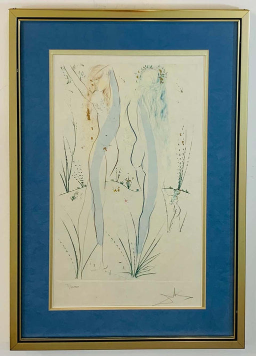 "Salvador Dali ""Two Nudes"" of Song Solomon Etching Signed and Numbered"