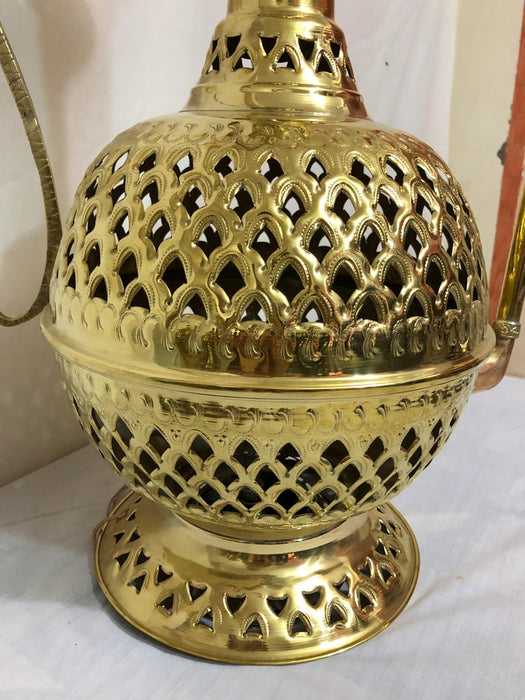 Pair of Large Tea Pot Aladdin Gold Brass Filigree Crafted Floor or Table Lamps