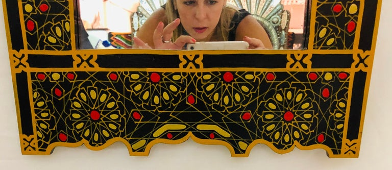 Moroccan Hand Painted Wall or Vanity Mirror in Black with Gold and Mustard