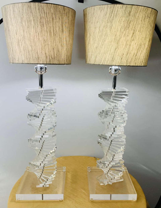 "Mid-Century Modern Stacked Lucite Table Lamp ""Grand Staircase"", a Pair"