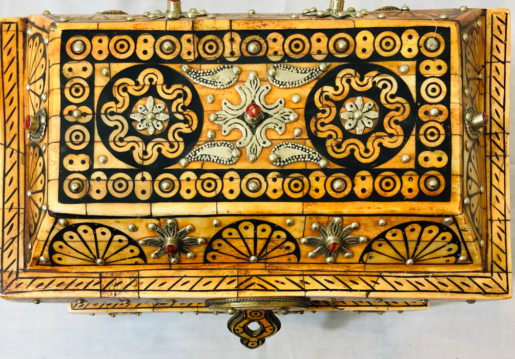 Orange Brass and Bone Inlaid Jewelry Chest/Box