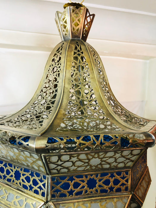 A Pair of Gold Brass with Blue and White Lanterns