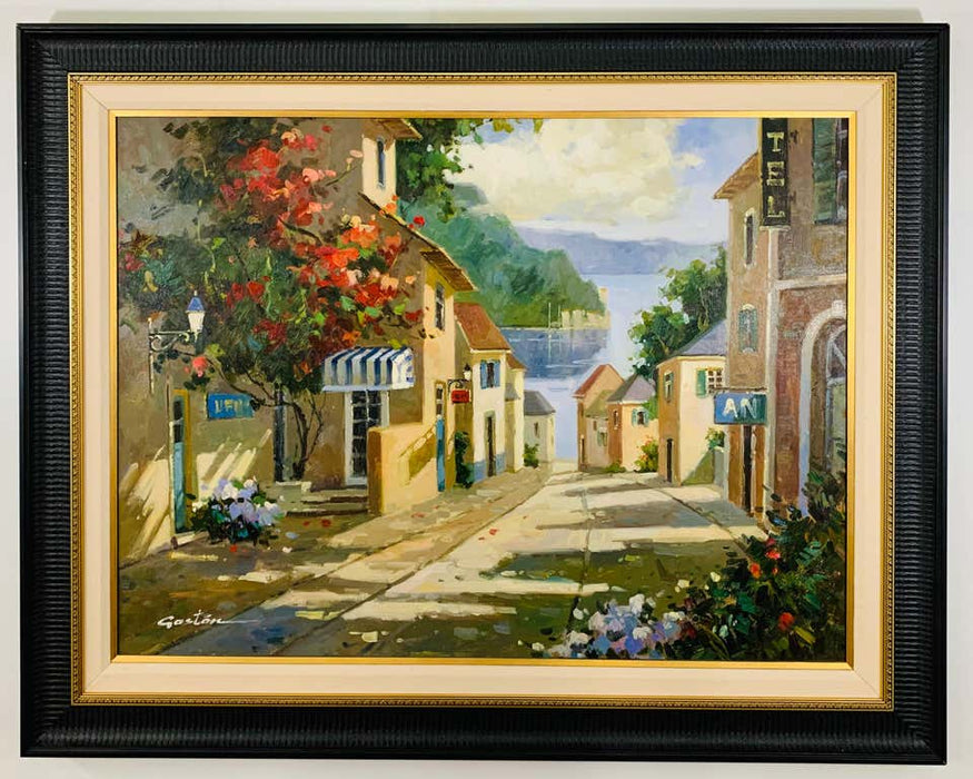 Landscape Village by the Lake Painting Framed and Signed Gaston