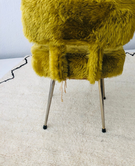 Lady Chair Mid-Century Modern Style in Green Sheep Wool