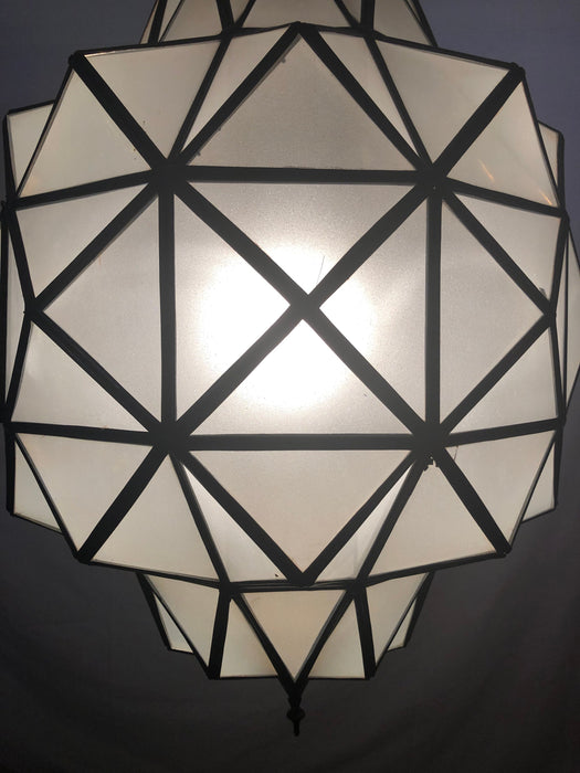 Art Deco White Milk Chandelier, Pendant or Lantern in Dome Shape