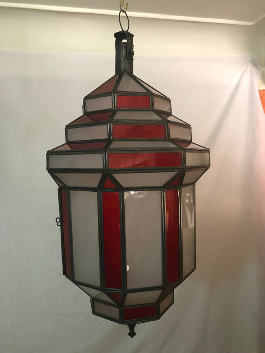 Art Deco Style White Milk and Red Glass Chandelier, Pendant or Lantern, a Pair