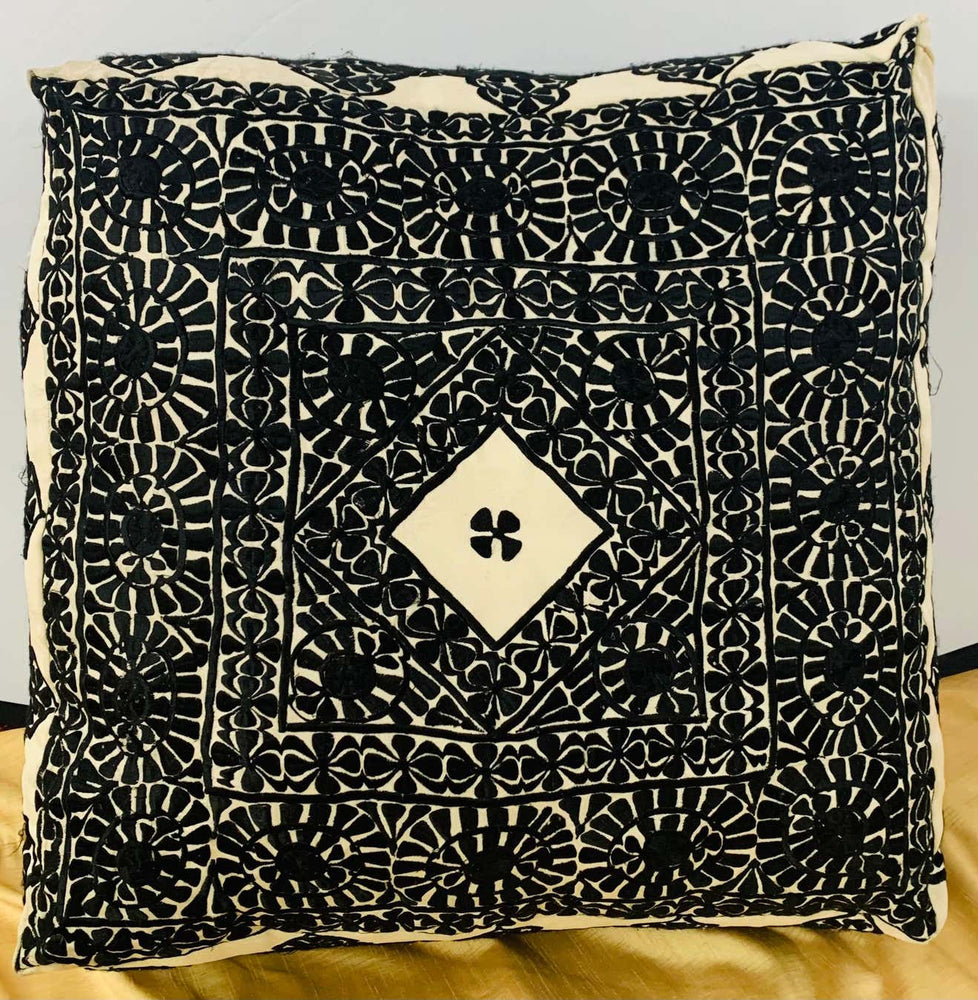 Large Vintage Moroccan Black and off White Square Ottoman or Pouf